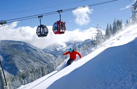 FOR TRAVEL - Gordon Bronson skiing on Aspen Mountain, Aspen, Colorado -- PHOTO CREDIT: Scott Markewitz